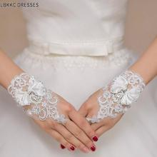 Белые или цвета слоновой кости свадебные короткие перчатки без пальцев Свадебные перчатки для женщин цвета слоновой кости кружевные перчатки свадебные аксессуары