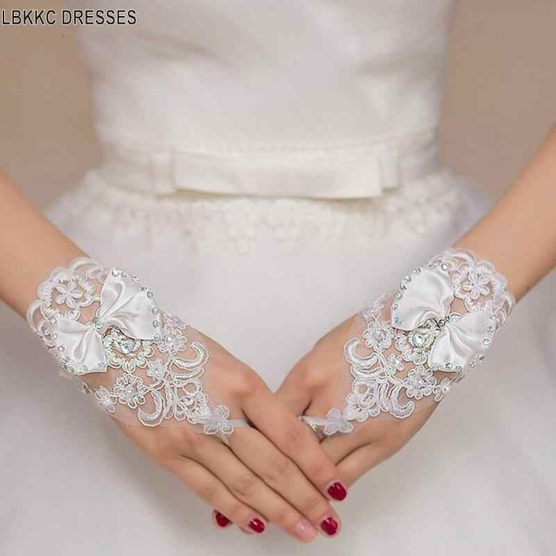 White or Ivory Wedding Short Gloves Fingerless Bridal Gloves for Women Ivory Lace Gloves Wedding Accessories