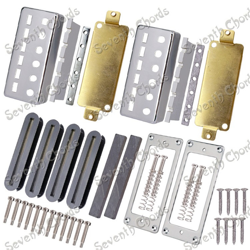 A Set Guitar Humbucker Pickup Kits Producing Accessories Chrome Pickup Cover and Metal Pickup Ring kmise electric guitar pickups humbucker double coil pickup bridge neck set guitar parts accessories black with chrome gold frame