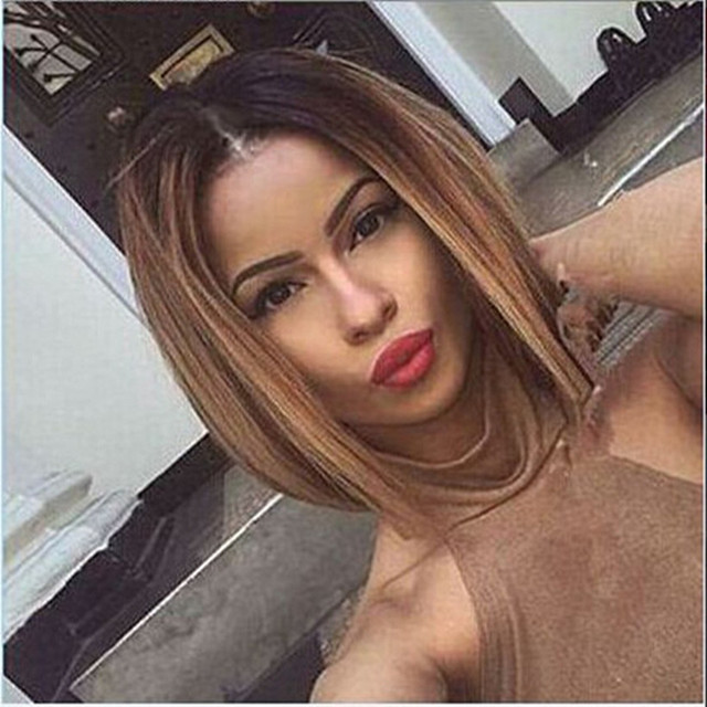 Two colour 2016 Two Tones Ombre Wig Medium Long Straight Synthetic Hair Wig for Black Women Perruque Peruk Afircan American Wigs