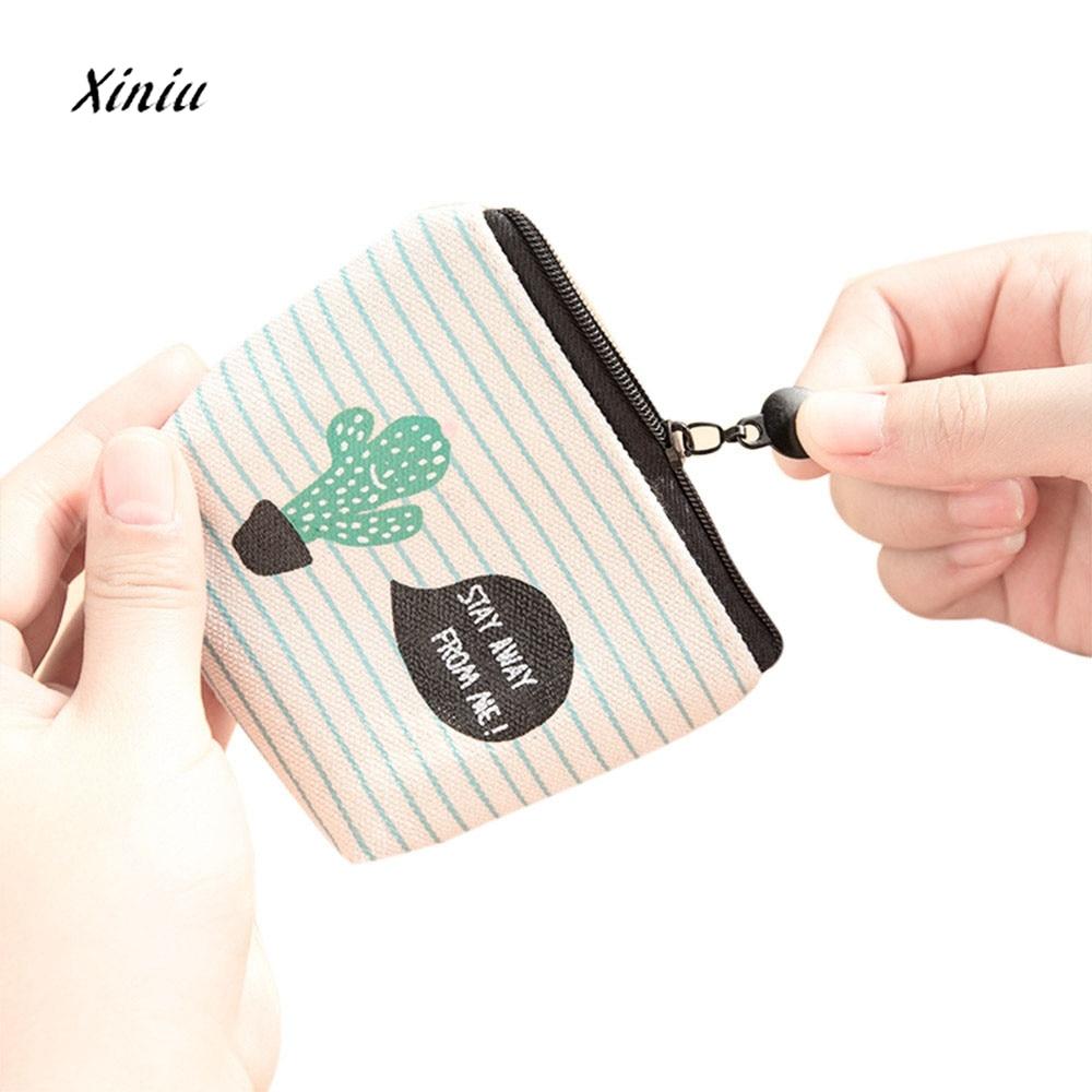 Fashion Cactus Printed Women Girls Cute Snacks Coin Purse Wallet Bag Canvas Small Ladies Change Pouch Key Holder Zipper Purses