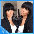 synthetic wig natural straight black hair with full bangs heat resistant glueless synthetic full /none lace wigs for black women