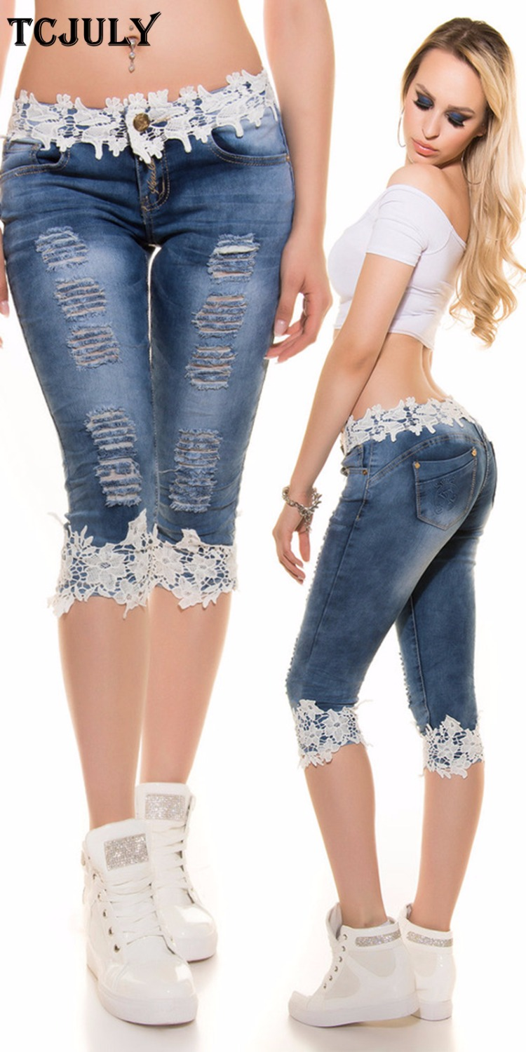 TCJULY 2019 Fashion Streetwear Knee Length   Jeans   With Lace Patchwork Skinny Push Up Slim Capris Pants Stretchy Casual Blue   Jeans