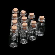 10 шт 1 мл 3 мл бутылки желаний Крошечные маленькие пустые прозрачные пробковые стеклянные бутылки флаконы для украшения свадьбы праздника Рождественские подарки