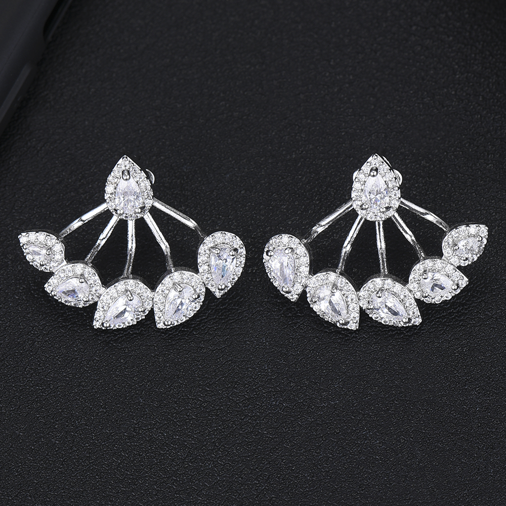 Luxury Romantic waterdrops Shape Stud Earrings with CZ Element Earrings For Women Important occasion Jewelry Party Accessories