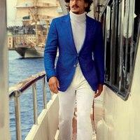 Индивидуальный заказ повседневные Для мужчин костюмы и брюки, заказ королевский синий смокинг куртка и штаны белые, индивидуальные Повседн