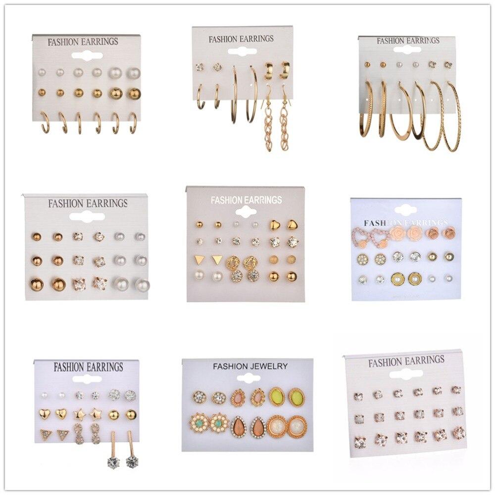 MissCyCy 31Style Heart Flowers Infinite Symbol Stud Earrings Set 2019 New Rhinestone Imitation Pearl Earrings For Women Gift