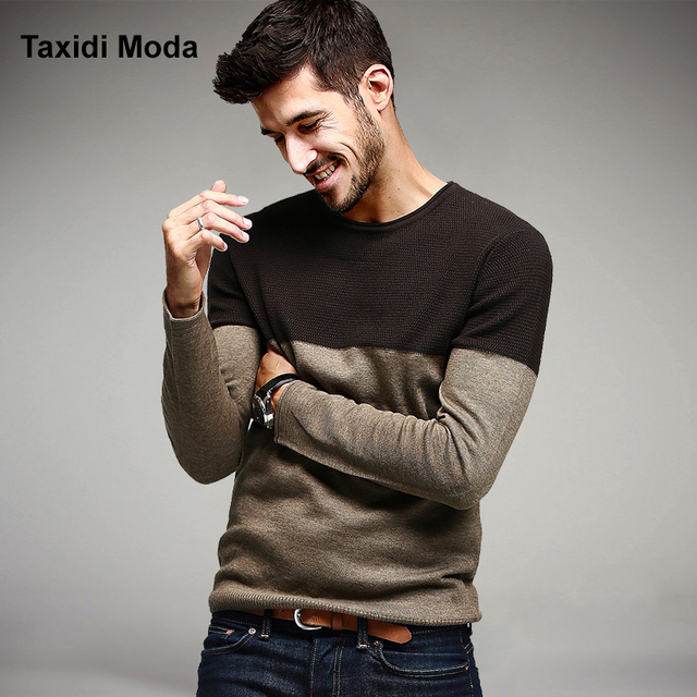 2017 Primavera Dos Homens Blusas Moda Patchwork Khaki Malha Roupas de Marca Para homem Magro Pullovers Malhas de Tricô Masculino Roupas
