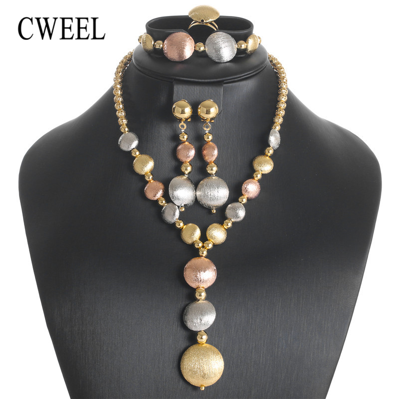 CWEEL Indian Dubai Gold Jewelry Sets for Women Wedding African Beads Set Jewelry Bridal Necklace Earrings JewelleryCWEEL Indian Dubai Gold Jewelry Sets for Women Wedding African Beads Set Jewelry Bridal Necklace Earrings Jewellery