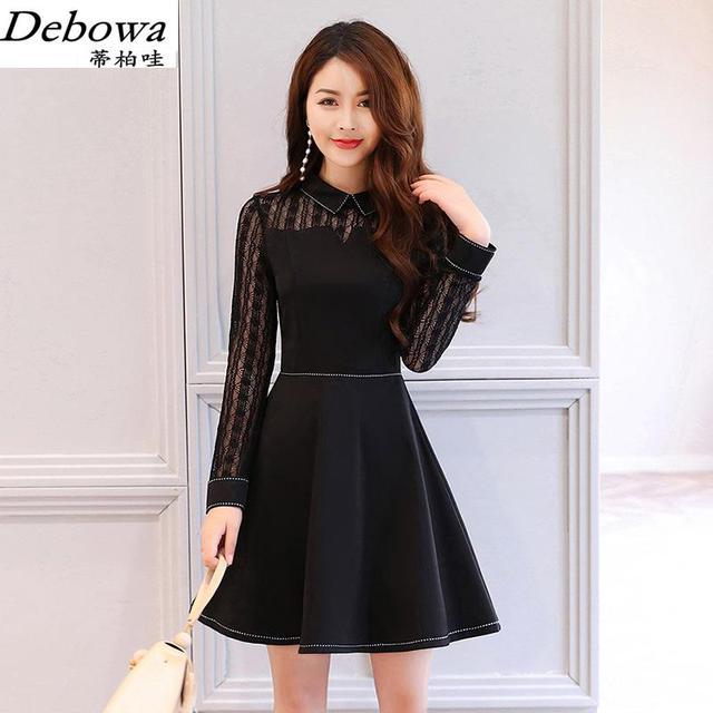 Debowa Black Vintage Lace Dress Women 2017 New Autumn Women Dresses Long Sleeve Slim Princess Dress Beautiful School Dress