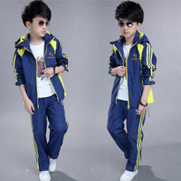 2017 New Autumn Teenage Boy Sport Suit Outwear Casual 2 Pcs Suit Warm Hooded Jackets Pants