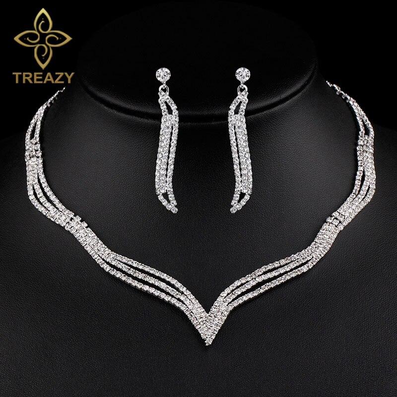 Treazy Elegante Kristall Brautschmuck Sets Silber Farbe Strass Halsband Halskette Ohrringe Sets Für Frauen Hochzeit Zubehör Ausgereifte Technologien Brautschmuck Sets