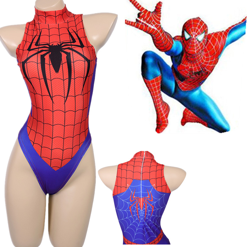 Spider-Man Tankini Swimsuits Women/Girls Sexy Bikini Swimwear Bodysuit 3D Printin Spiderman Jumpsuits Cosplay Costumes