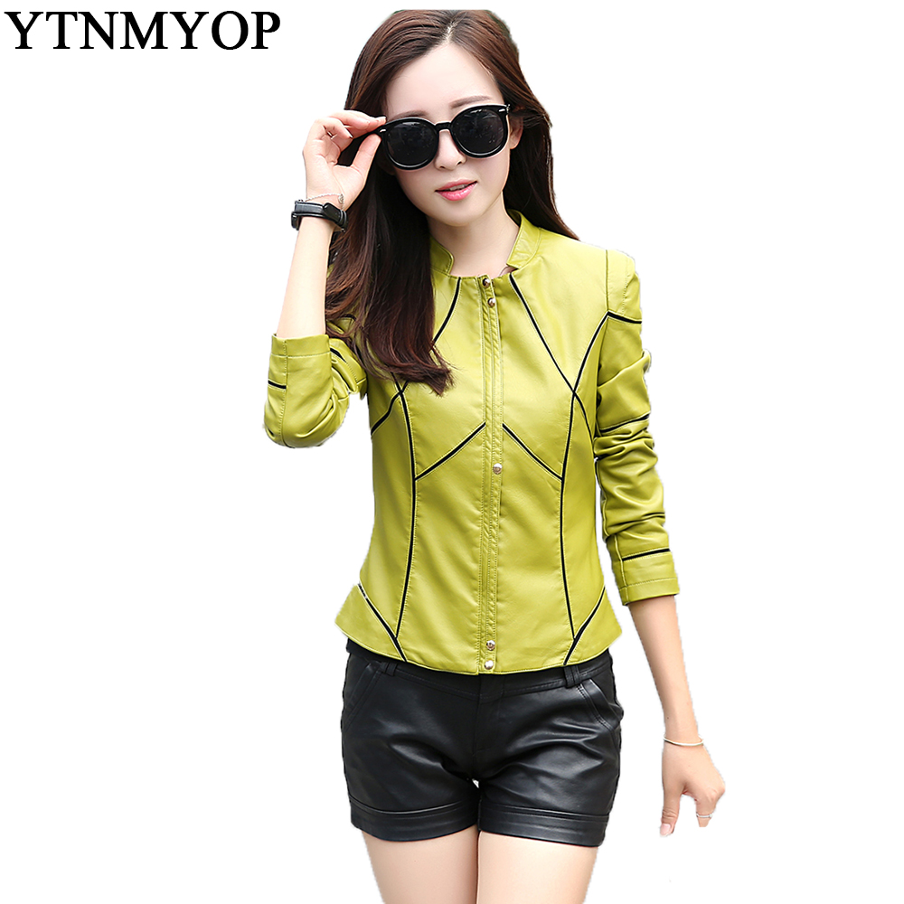 Spliced Female   Leather   Jacket Green Short Casual   Leather   Coat Outerwear S-3XL Long Sleeve Women's Clothing
