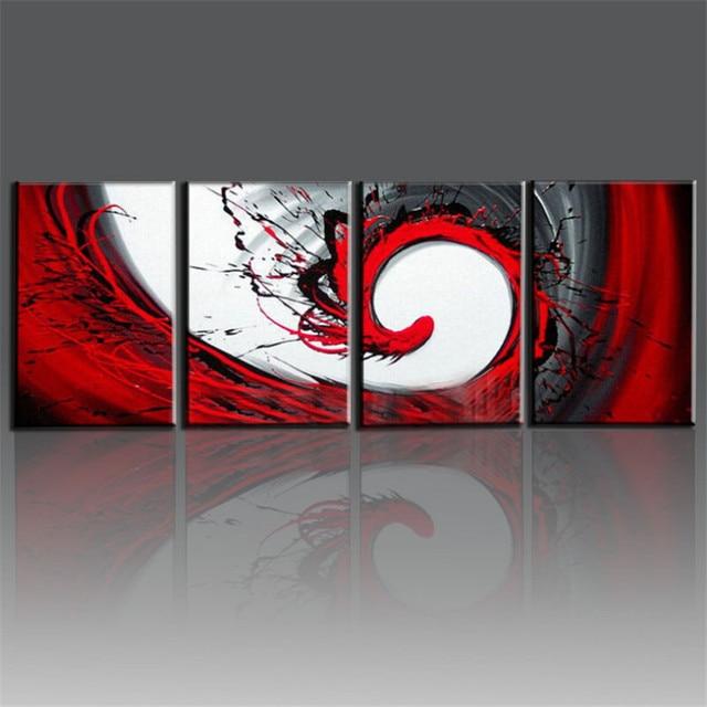 Hochwertig Hand Bemalt Rot Schwarz Weiß Leinwand ölgemälde Moderne Abstrakte Wandkunst  Wohnzimmer Dekorative Kunst Sets 4 Stücke