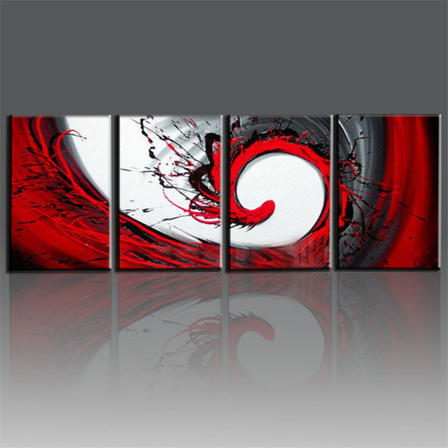 8d9c7496ec2 hand painted red black white canvas oil painting modern abstract wall art  living room decorative art sets 4pcs