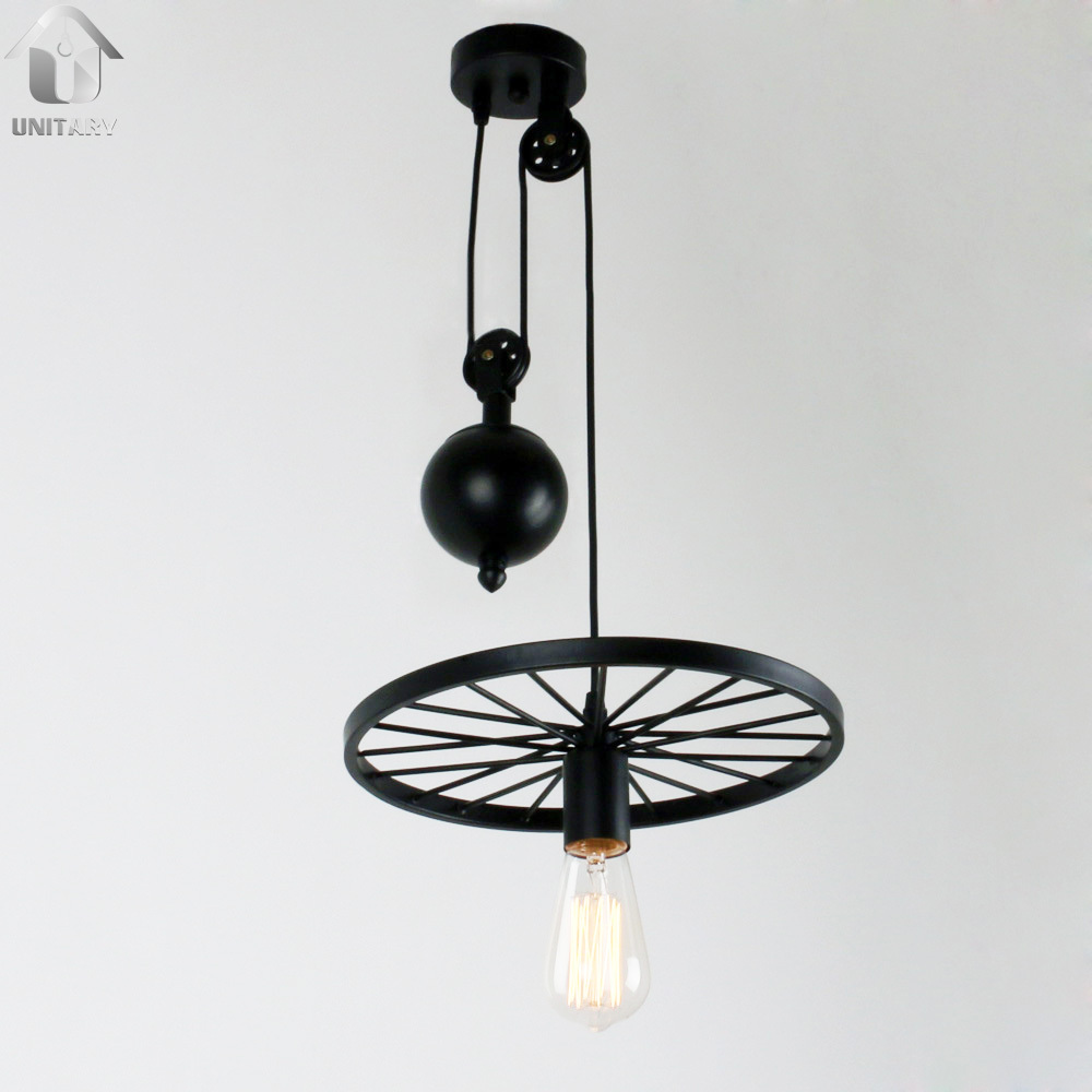 UNITARY BRAND Large Black Vintage Two Metal Wheels Hanging  Pulley Pendant With 1 Lights Painted Finish