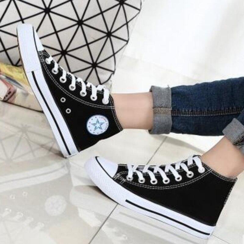 Modelo de alta Zapatos de Lona Unisex Hombres Mujeres high Style Canvas zapatos