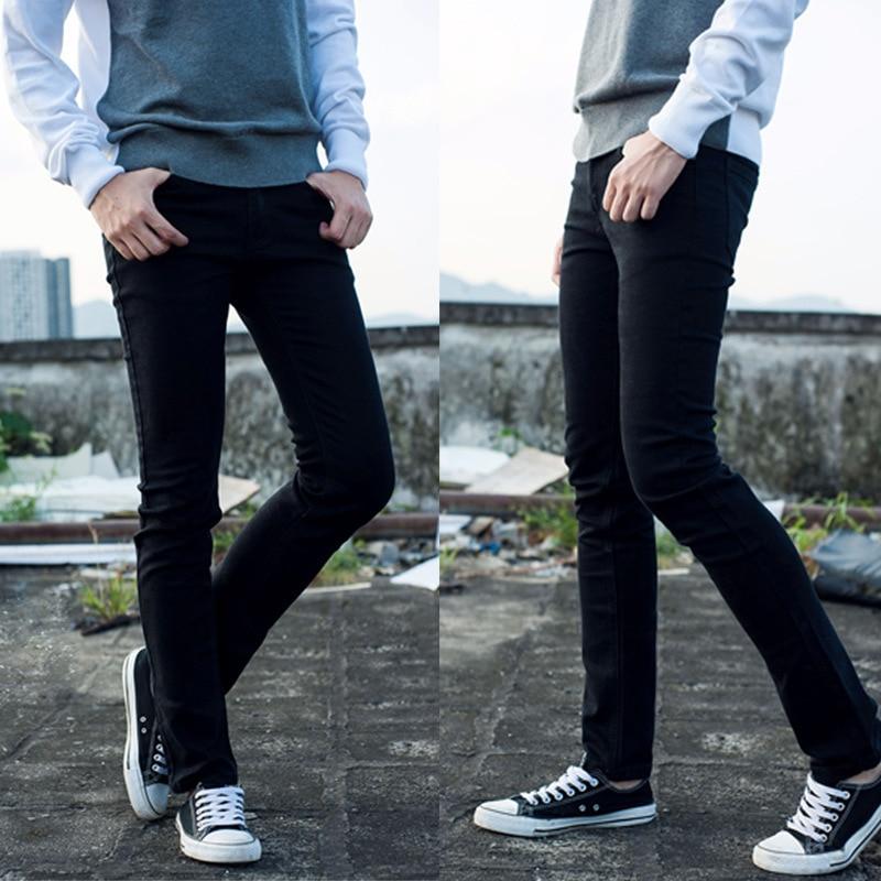 Free Shipping 100 cotton Hot Sale Fashion stretch feet black Pencil Pants men s jeans Slim