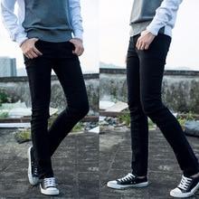 Бесплатная доставка 100% хлопок Лидер продаж Мода растянуть ноги черный карандаш Брюки для девочек Мужские джинсы Slim Fit Брюки Мужчины карандаш плотно Штаны