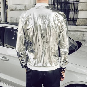 Image 2 - 2020 New Fashion Jacket Men Silver Shiny Fabric Hip hop Streetwear Slim Fit Stretch Stage Dance Clothing Plus Size