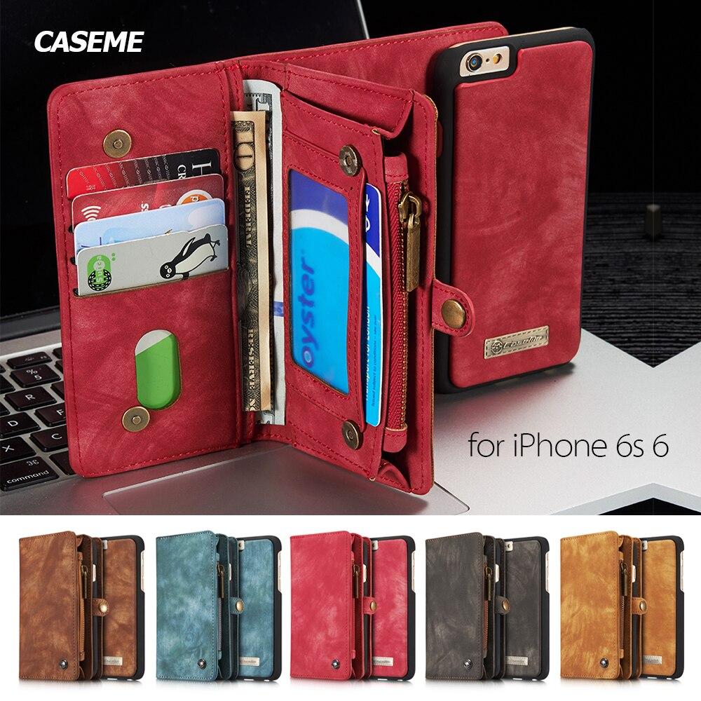 imágenes para Capa coque funda Para el iphone 6 6 s plus Casos CASEME Retro Dividida Multi-slot Monedero Cubierta de cuero para el iphone 7 Caso 7 plus-Rojo