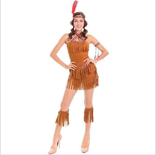 2017 New Halloween Carnival Party Cosplay Costume Dress Lady Sexy Dress Indian Womens Pocahontas Adult Costume  sc 1 st  AliExpress.com & 2017 New Halloween Carnival Party Cosplay Costume Dress Lady Sexy ...
