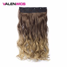 Valen Wigs Ombre Natural Color Women Synthetic Heat Resistant 5 Clips In Hairpiece Long Wavy One Clip On Hair Extensions