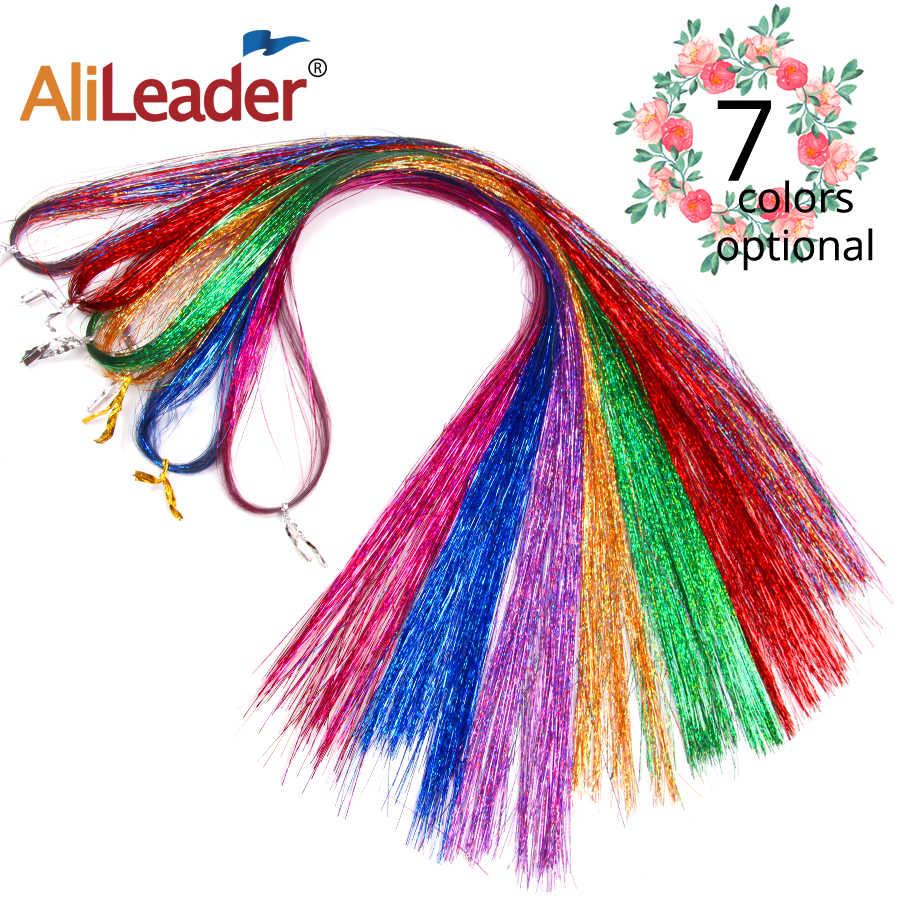 """Alileader 100 Пряди 36 """"Искра Мишура волос Синтетические Расширения Декор Средства для укладки волос Мишура блеск расширение д"""