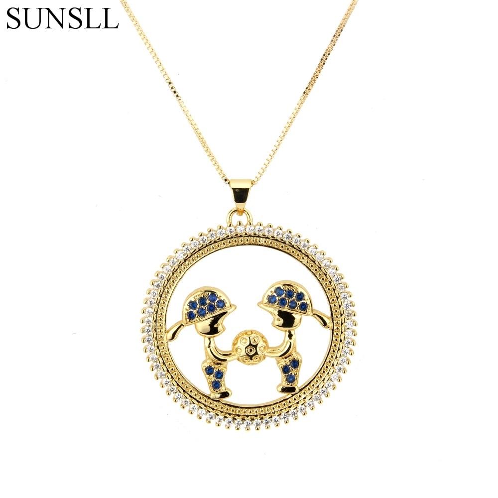SUNSLL Golden Color Copper Multi-color Cubic Zirconia Boy And Girl Pendant Necklaces Women's Fashion Jewelry Cobre CZ Colar