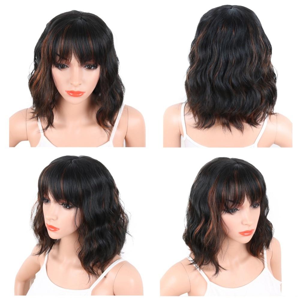 Deyngs Pixie Cut Syntetiska Paryk Med Bangs För Svarta Kvinnor Korta - Syntetiskt hår - Foto 3