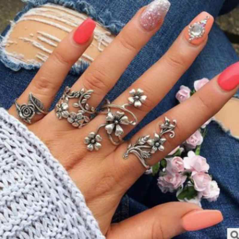 2018 Kpop Fashion Vintage Hollow Flower Ring Sets For Women Girl Joyme Engagement Ring Bijoux