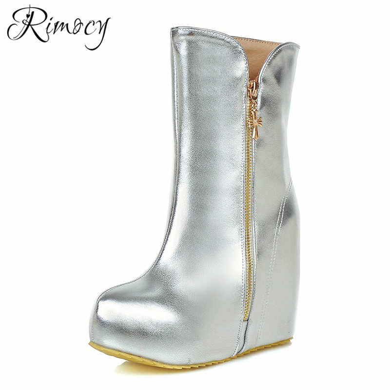 9b094c313a58 Detail Feedback Questions about Rimocy wedges shoes woman silver boots  ladies fashion winter warm botines height increasing shoes round toe  platform botas ...