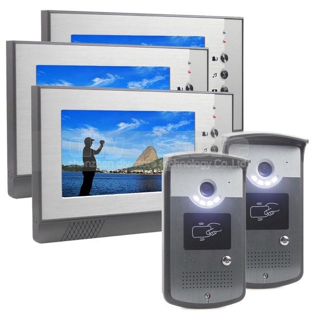 DIYSECUR 7inch Wired Video Door Phone Doorbell LED Night Vision RFID Unlocking Home Security Intercom System 3 Monitor 2 Camera