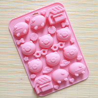 2015 New DIY Pig Silicone Fondant Cake Molds Soap Chocolate Mould 3D Lollipop Molds For The Cake Baking Tools CL075