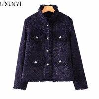 2018 Fashion Navy Blue Tweed Jacket Autumn Winter Women S Jacket Coat Classic Ladies Wild Bright