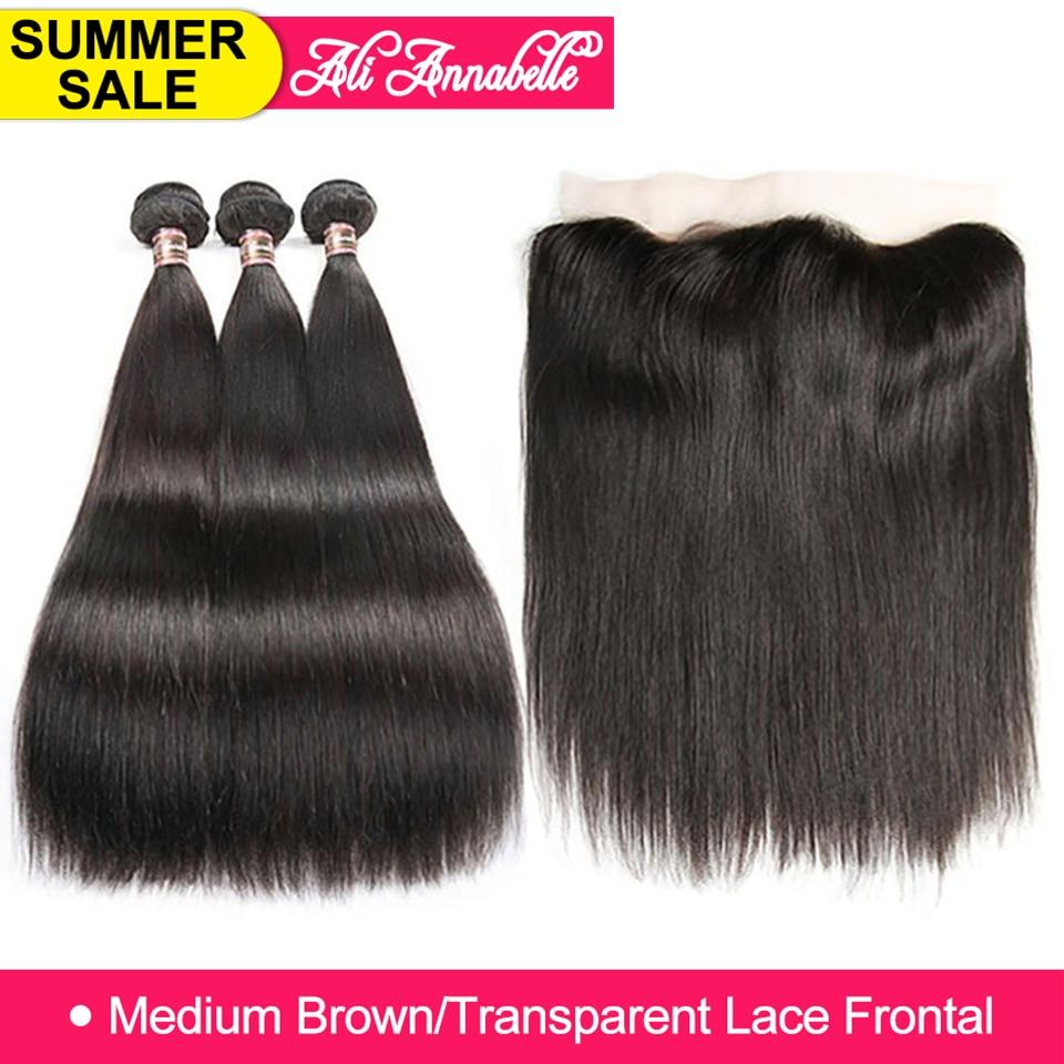 ALI ANNABELLE HAIR Straight Brazilian Human Hair Bundles With Transparent Lace Frontal Medium Brown 3 Bundles