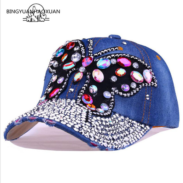 BINGYUANHAOXUAN Luxury Rhinestone Woman Cowboy Baseball Cap Butterfly Pattern Gorras Female Glass Diamonds Hip Hop Hat