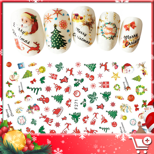 GELFAVOR Merry Christmas stickers Nail Art Nail Stickers For Nails ...