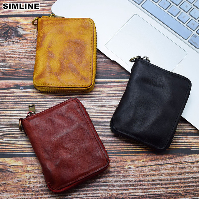 9e03393c6c2f ... двумя отделениями на молнии кошельки кошелек. 2019 Genuine Leather  Wallet Women Men Vintage Handmade Short Small Bifold Zipper Wallets Purse  Female Male