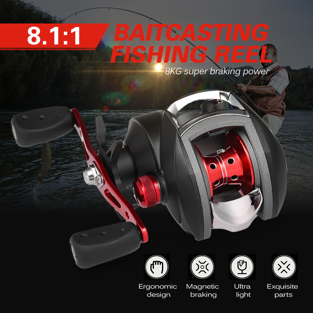 12+1 BB Ball Bearing 8.1:1 Bait Casting Fishing Reel One-way Clutch Baitcasting Reel Left/Right Hand Fishing Reel rj45 shield network sockets w indicator silver black 4 pcs
