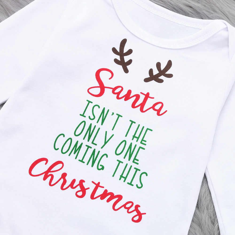 Детская одежда детская для девочек и мальчиков на Новый год и Рождество ползунки с надписью для детей Костюмы осень-зима боди с длинным рукавом T3 #