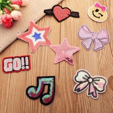 DOUBLEHEE 8 Stars Sequins Embroidered Patches For Clothing Iron On Close Shoes Bags Badges Embroidery