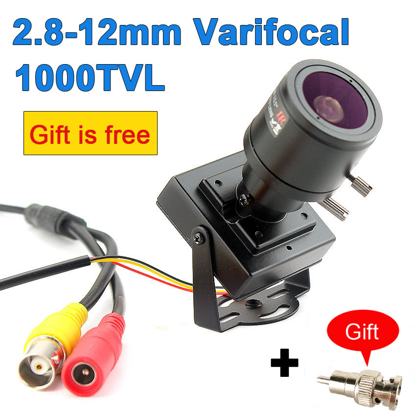 1000TVL Varifocal Lens Mini Camera 2.8 12mm Adjustable Lens+RCA Adapter Security Surveillance CCTV Camera Car Overtaking CameraSurveillance Cameras   -
