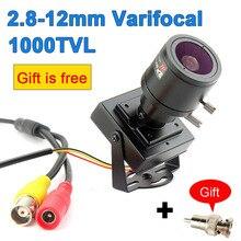 Mini cámara con lente Varifocal 1000TVL, lente ajustable de 2,8 12mm + adaptador RCA, cámara CCTV de vigilancia de seguridad, cámara de superposición de coche