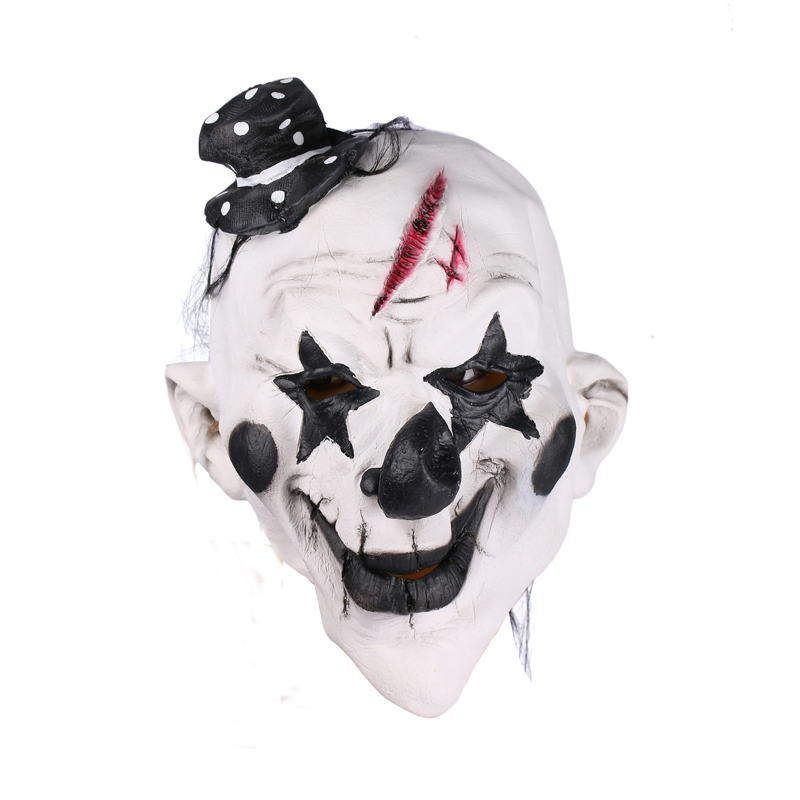 Scary Latex Clown Mask Black and White Full Face Cosplay Horror Masquerade Adult Ghost Halloween Costumes Fancy Dress Party Prop