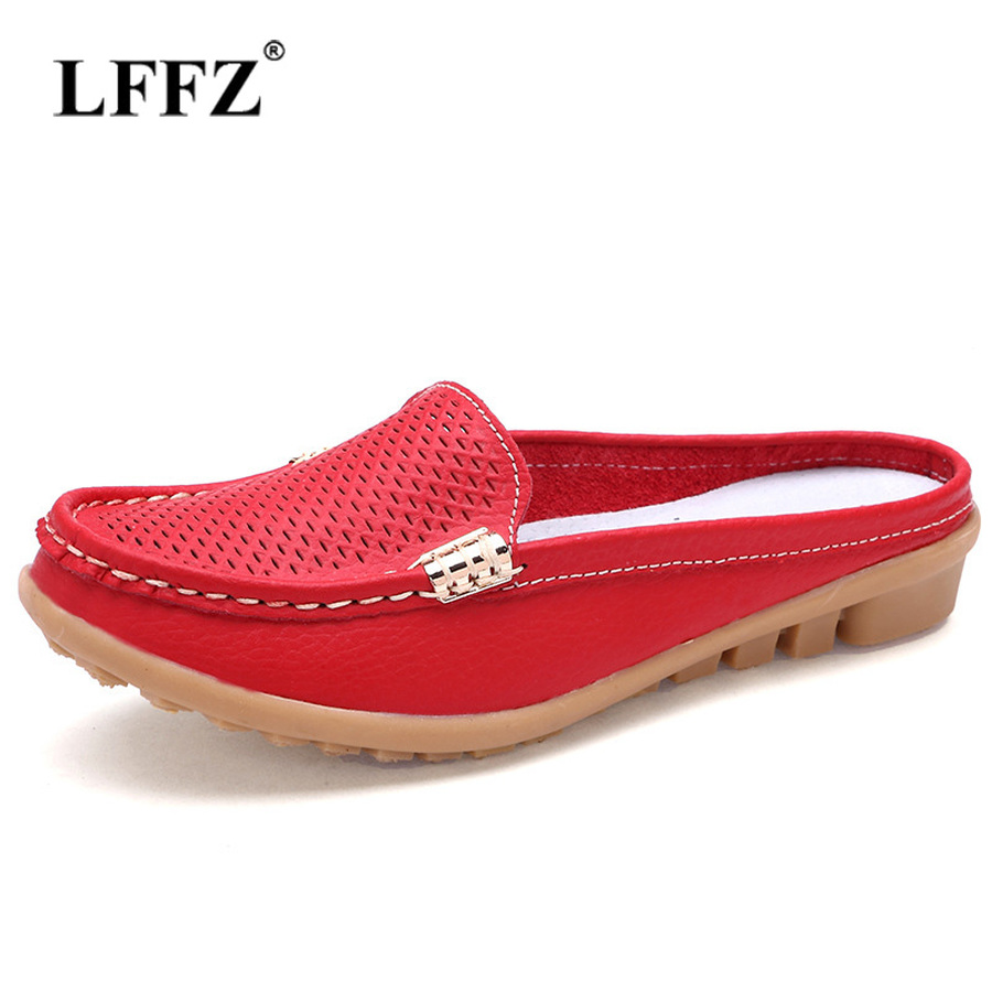 Lzzf Breathable Flat Slip on Shoes for Women Woman Loafers Moccasins Genuine Leather Casual Ladies Flats Footwear Nurse Tenis