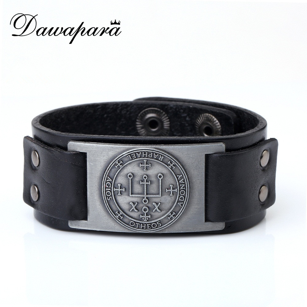 EUEAVAN Key of Solomon The Sigil of the Archangel URIEL Fire of God Talisman Braided Wide Leather Wristband Bracelet