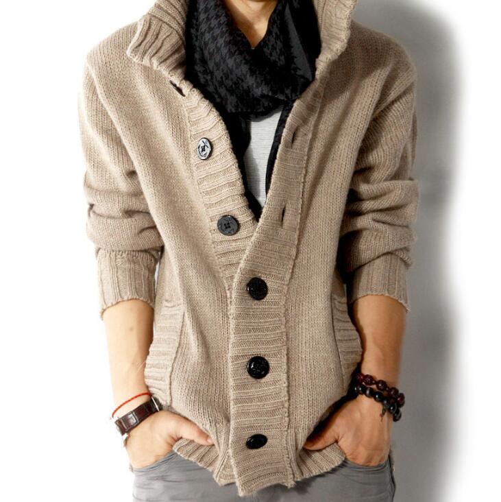 2019 Männer Herbst Winter Pullover Mantel Slim Fit Gestrickte Sweatercoat Jacke Männlich Stehen Kragen Beiläufige Strickjacke Pullover S-3xl