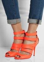 Orange Red Suede High Heel Gladiator Women Sandals Peep Toe Cutouts Plus Size 10 Free Shipping